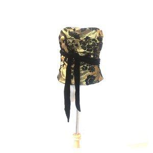 Silk Metallic Gold/Black Velvet Bustier